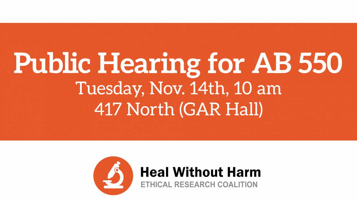 Please Attend: Public Hearing on AB 550!